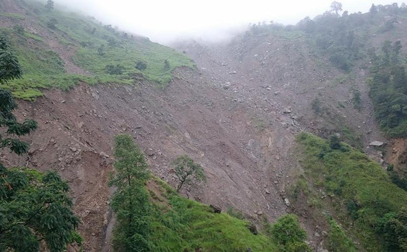 A view of the landslide at Bhoje village in Kolosothar Rural Municipality, Lamjung, on Monday, August 7, 2017. Photo: THT