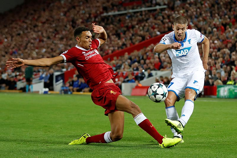 Liverpool's Trent Alexander-Arnold in action with Hoffenheimu2019s Andrej Kramaric. Photo: Reuters
