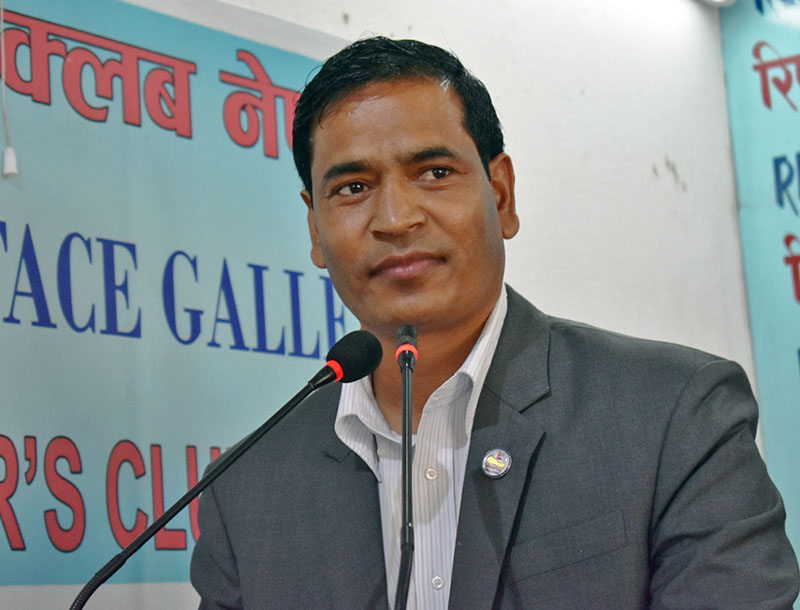 Minister for Energy Mahendra Bahadur Shahi speaking at a programme in Kathmandu, on Wednesday, August 30, 2017. Courtesy: Reporters Club