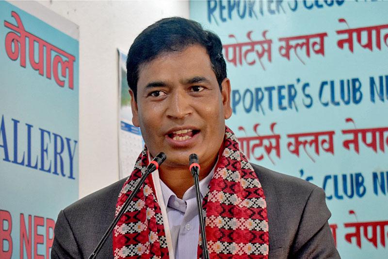Minister for Engery Mahendra Bahadur Shahi speaks at a programme in Kathmandu. Courtesy: Reporters Club