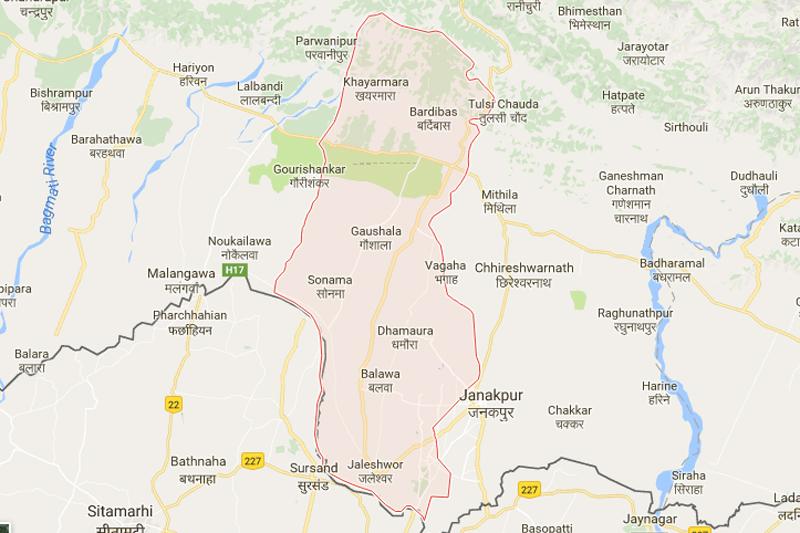 Mahottari district. Source: Google maps