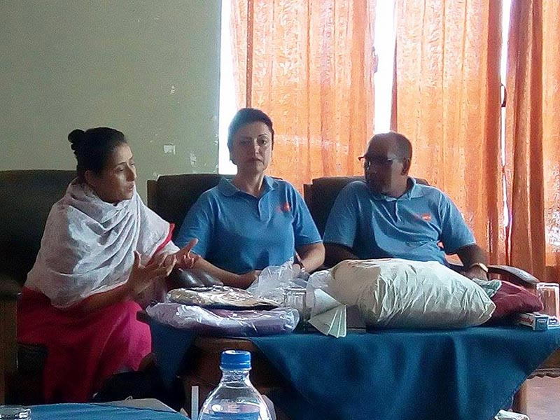 Nepali-born Bollywood actress Manisha Koirala (left) speaking at a press meet while visiting flood-hit areas in Rautahat, on Wednesday, August 23, 2017. Photo: THt