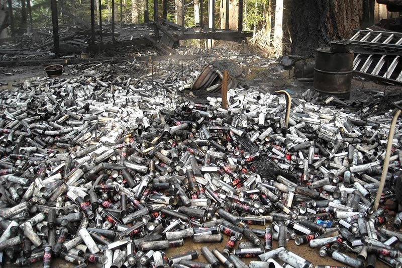 Thousands of used butane cans used to process concentrated marijuana dumped in the forest in Humboldt County, California are pictured in this undated handout photo obtained by Reuters July 25, 2017. Photo: California Department of Fish and Wildlife/Handout via Reuters