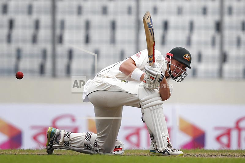 Australia's Matt Renshaw plays a shot during the second day of the first test cricket match against Bangladesh in Dhaka, Bangladesh, Monday, Aug. 28, 2017. Photo: AP