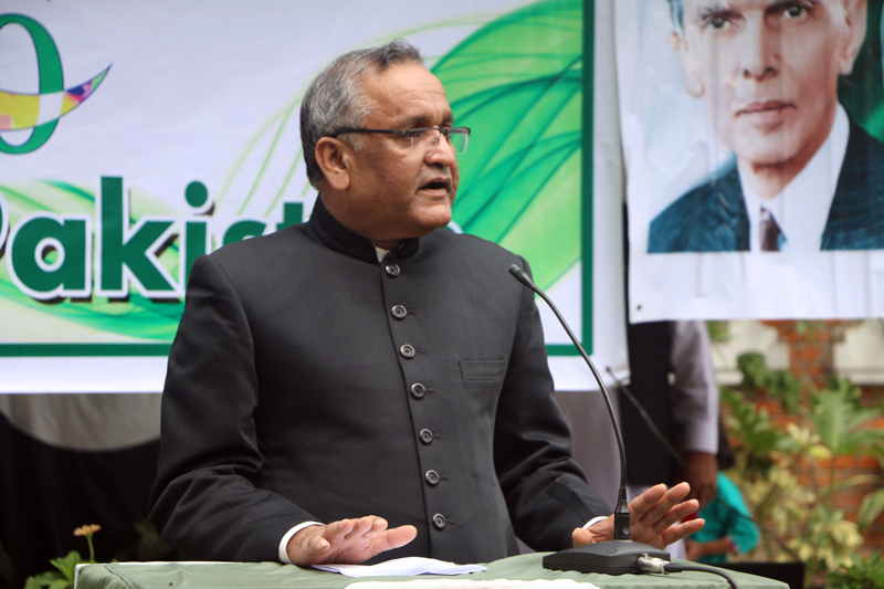 Ambassador of Pakistan to Nepal Mazhar Javed addresses a programme organised to mark the 70th Independence Day of Pakistan at the Pakistani Embassy in Maharajgunj, on Monday, August 14, 2017. Photo: RSS