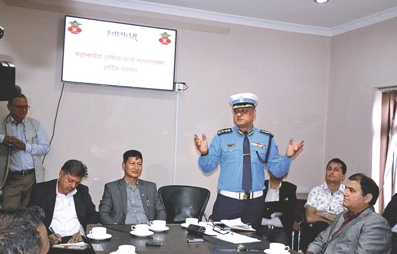 Metropolitan Traffic Police Division Chief Sarvendra Khanal speaking at a meeting organised by Traffic Police Office,  Kathmandu, on Monday, July 31, 2017. Photo: RSS