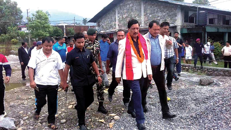 Minister for Youth and Sports Rajendra Kumar KC inspecting Pokhara Stadium on Tuesday. Photo: THT