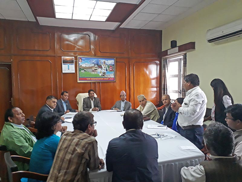 Minister for Supplies Shiva Kumar Mandal attending meeting with stakeholders in Singha Durbar, Kathmandu, on Sunday, August 27, 2017. Courtesy: Ministry of Supplies