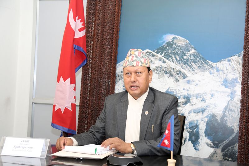 Minister for Information and Communications Mohan Bahadur Basnet informs the media persons about the decision made in the Cabinet meeting at Singhadarbar, in Kathmandu, on Thursday, August 03, 2017. Photo: RSS