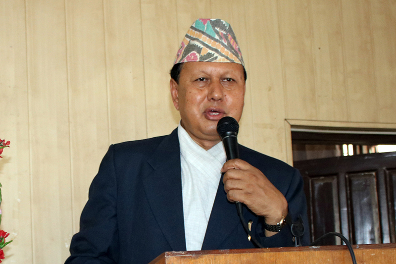 Minster for Information and Communication Technology Mohan Bahadur Basnet speaks at a programme in Kathmandu, on Wednesday, August 16, 2017. Photo: RSS