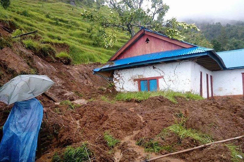 A view of Motiram School partly buried in the landslide debris, in Phalelung Municipality-2 of Panchthar district, on August 30, 2017. Photo: Laxmi Gautam
