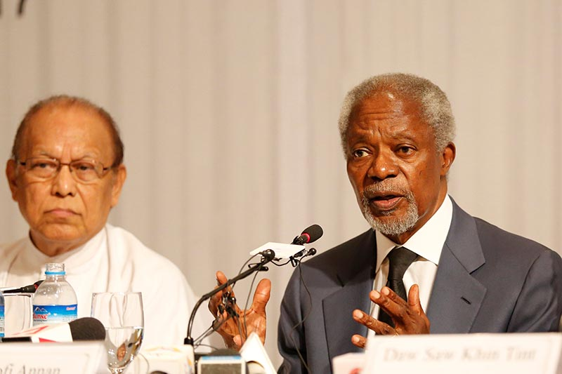 Kofi Annan, chairman for Advisory Commission on Rakhine State, talks to journalists during his news conference in Yangon, Myanmar, on August 24, 2017. Photo: Reuters