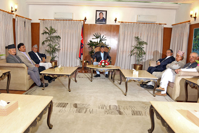 Prime Minister Sher Bahadur Deuba attends three major parties meeting in Baluwater, on Wednesday, August 16, 2017. Photo: RSS