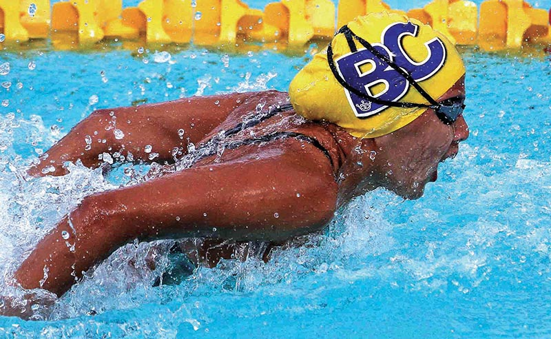 Olympian swimmer Gaurika Singh swims during the women's 50m butterfly event of the NSA Cup Swimming Championship in Lalitpur, on Thursday. Photo: Udipt Singh Chhetry/ THT