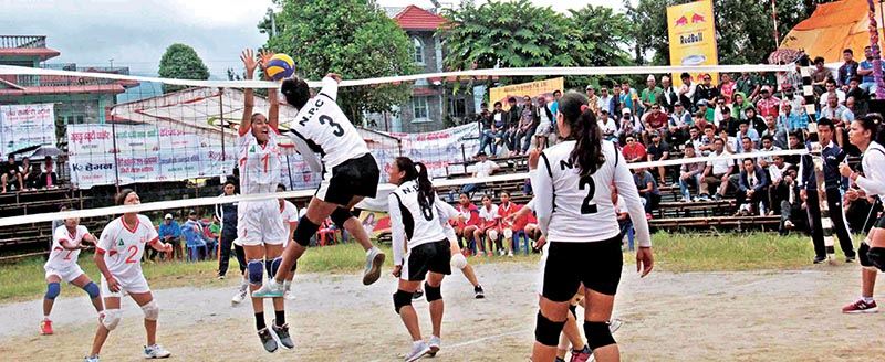 A player of Nepal Police Club jumps up for a spike during the Red Bull National Womenu2019s  Volleyball Tournament in Pokhara, on Tuesday. Photo: THT