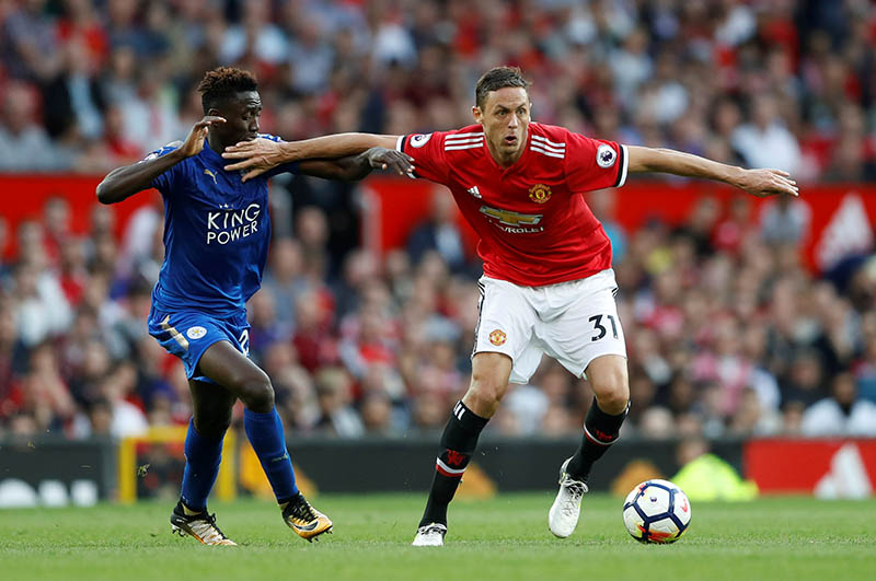 Manchester United's Nemanja Matic in action with Leicester City's Wilfred Ndidi. Photo: Reuters