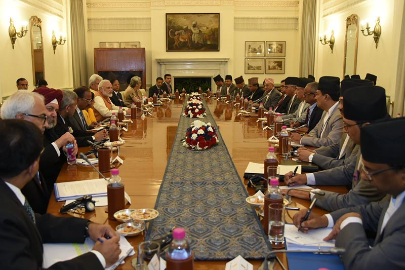 Bilateral talks between Nepal's Prime Minister Sher Bahadur Deuba and Indian Prime Minister Narendra Modi begin at the Indian PM's office, Hyderabad House, in New Delhi,India, on August 24, 2017. Photo courtesy: MEAIndia twitter