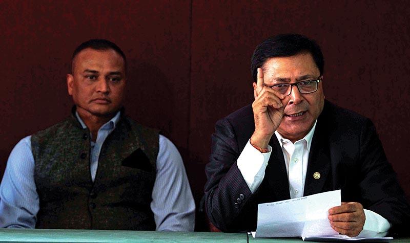 Nepal Judo Association President Deepak Harsha Bajracharya (right) gestures during  a press meet in Kathmandu, on Monday. Photo: THT