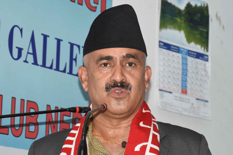 Minister for Water Supply and Sanitation Mahendra Yadav speaks at a programme in Kathmandu, on Wednesday, August 2, 2017. Courtesy: Reporters Club