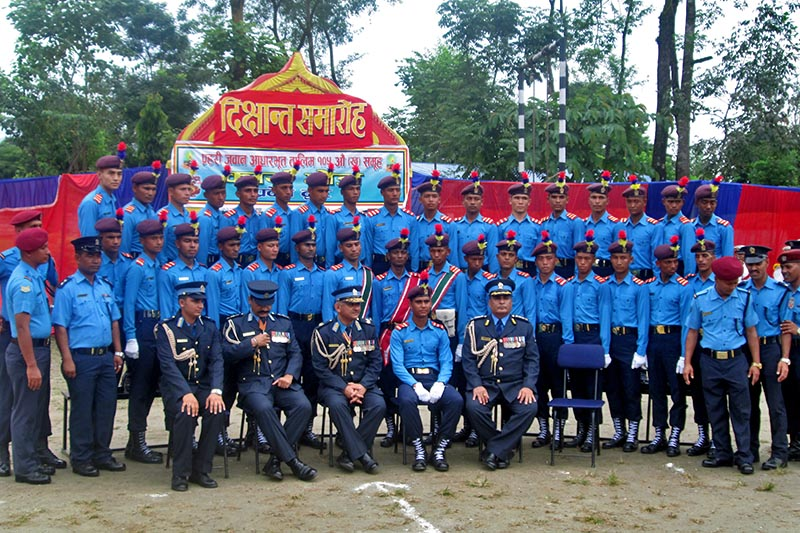 Police personnel pose for a photograph during the Police Constable Basic Training 105th Batch Convocation at the Western Regional Armed Police Battalion, in Pokhara of Kaski district, on Friday, August 25, 2017. Photo: Rishi Ram Baral