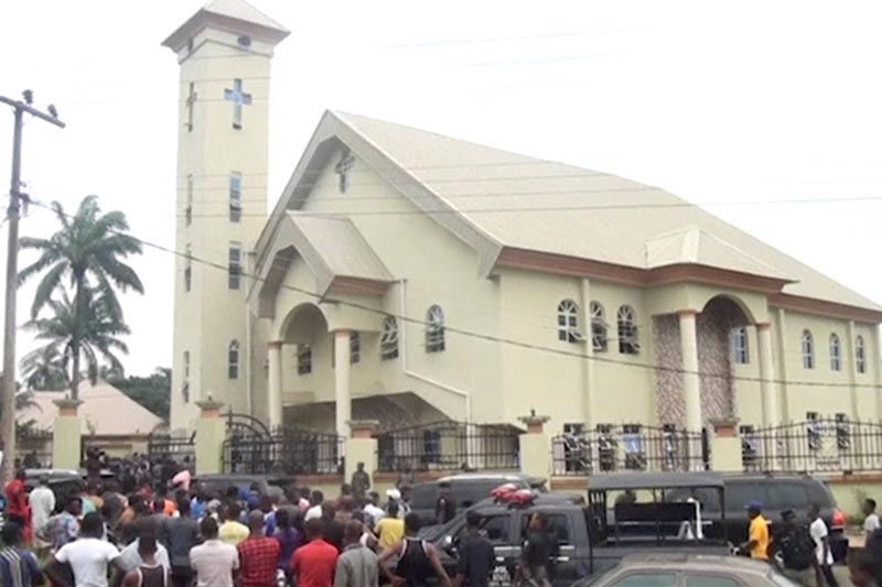 A still image taken from a video uploaded by CHANNELS TV, on August 6, 2017, shows St. Philips Catholic Church in Anambra, Nigeria. Photo: CHANNELS TV via Reuters TV