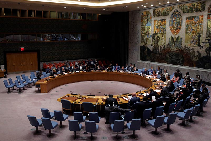 The United Nations Security Council sits to meet on North Korea after their latest missile test, at the UN headquarters in New York City, US, on August 29, 2017. Photo: Reuters