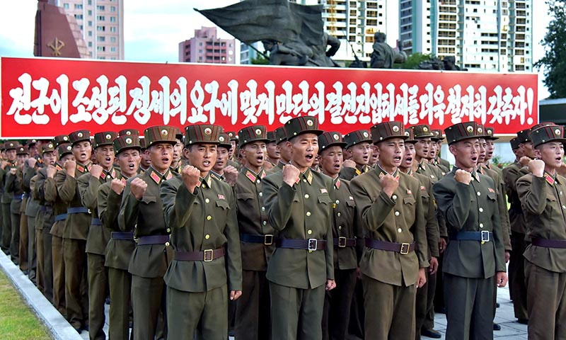 Servicepersons of the Ministry of People's Security met on August 10, 2017 to express full support for the Democratic People's Republic of Korea (DPRK) government statement, in this photo released on August 11, 2017 by North Korea's Korean Central News Agency (KCNA) in Pyongyang. Photo: KCNA/via Reuters