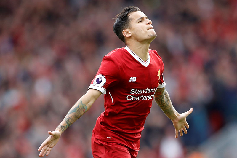 Liverpool's Philippe Coutinho celebrates scoring their second goal. Photo: Reuters