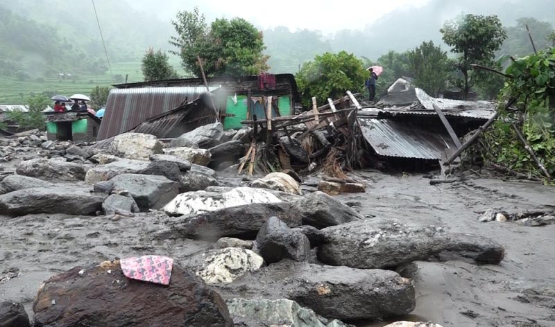 A view of houses damaged by flood and landslide, in Kaski, on Wednesday, August 9, 2017. Photo: THT