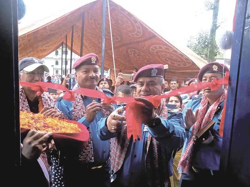 Police Commissioner AIG Bam Bahadur Bhandari inaugurating a new building in Nepaltar, Kathmandu, on Sunday, August 13, 2017. Photo: THT