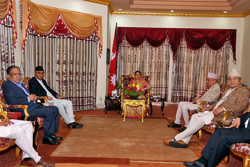 Top leaders attend meeting with President Bidya Devi Bhandari in Shital Niwas, Kathmandu, on Saturday, August 19, 2017. Photo: RSS