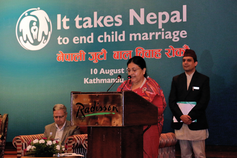 President Bidya Devi Bahndari addresses a campaign launched to end superstitious malpractices , in Kathmandu, on Thursday, August 10, 2017. Photo: RSS