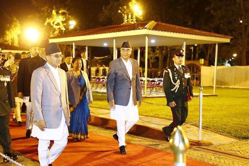 Prime Minister Sher Bahadur Deuba upon returning after his five-day state visit to India at Tribhuvan International Airport, in Kathmandu, on Sunday, August 27, 2017. Photo: Skanda Gautam/THT