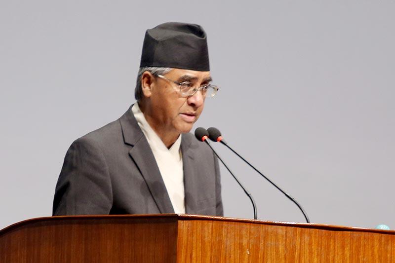 Prime Minister Sher Bahadur Deuba briefs the Legislature-Parliament on his India visit, in Kathmandu, on August 28, 2017. Photo: RSS