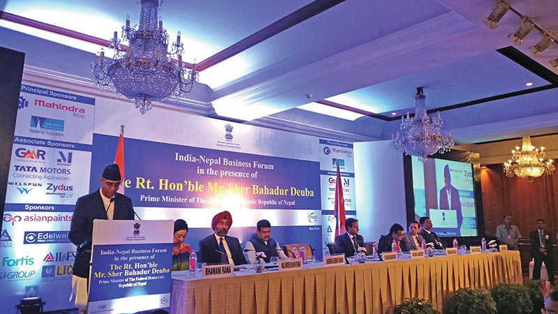 Prime Minister Sher Bahadur Deuba addressing the India-Nepal Business Forum at Associated Chambers of nCommerce and Industry, in New Delhi, on Wednesday, August 23, 2017. Photo courtesy: MoFA