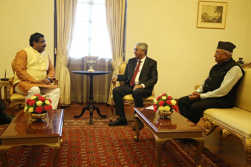 Bharatiya Janata Party's general secretary Ram Madhav (left) calls on Prime Minister Sher Bahadur Deuba at the Rashtrapati Bhavan in New Delhi, India on Friday, August 25, 2017. PM Deuba is presently on the five-day state visit to India. Photo: RSS