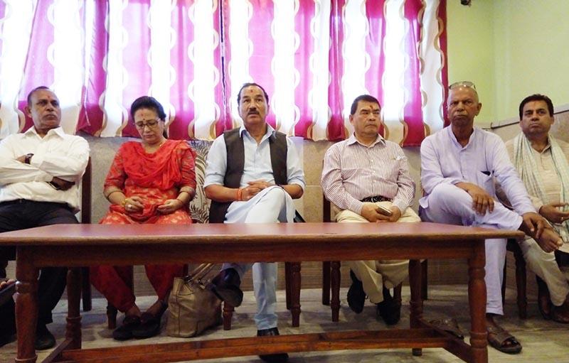 Rastriya Prajatantra Party Chairman Kamal Thapa speaking at a press meet organised in Rajbiraj, Saptari, on Monday, July 31, 2017. Photo: THT