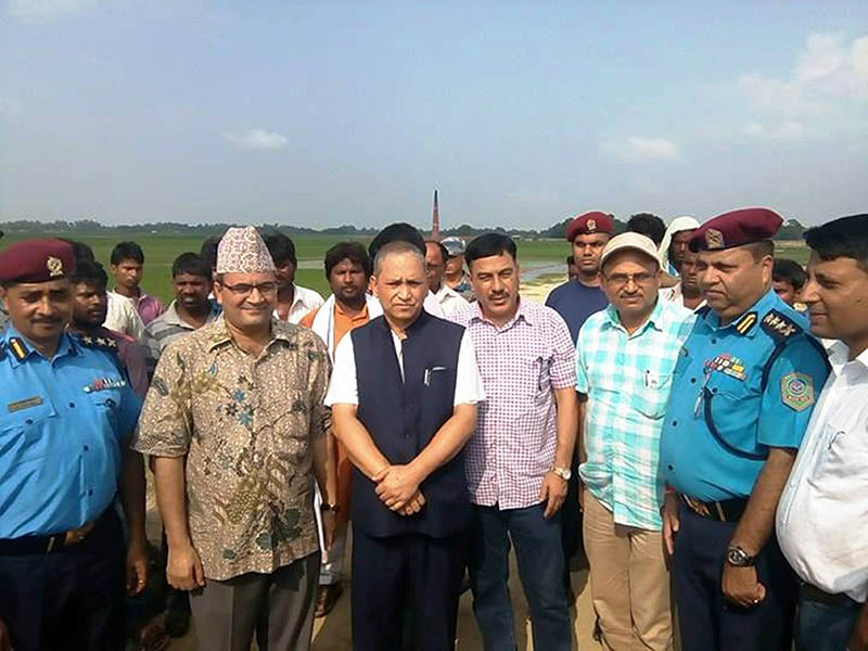 Probe Committee visits the incident site in Rautahat district, on Tuesday, August 8, 2017. Photo: Prabhat Kumar Jha