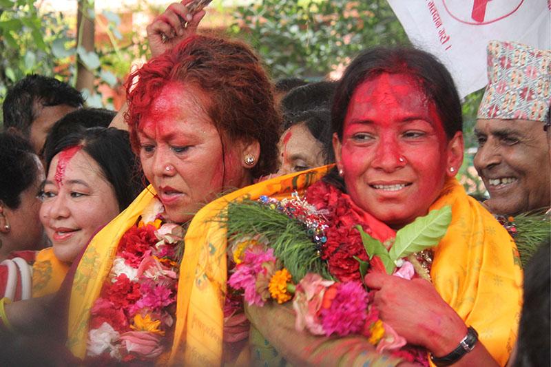 Newly elected mayor Renu Dahal (right)  and deputy mayor of Bharatpur Metroplis Prabati Shah Thakur take part in a victory rally in Bharatpur, on Sunday, August 6, 2017. Photo: Tilak Ram Rimal
