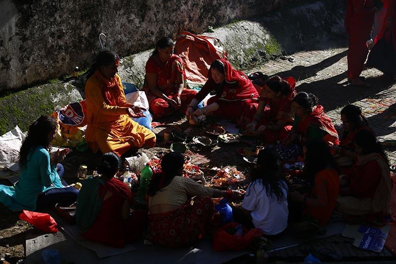 Hindu devotee women offer prayers at a temple during Rishipanchami festival on the bank of Bagmati River in Kathmandu, on Saturday, August 26, 2017. Photo: Skanda Gautam