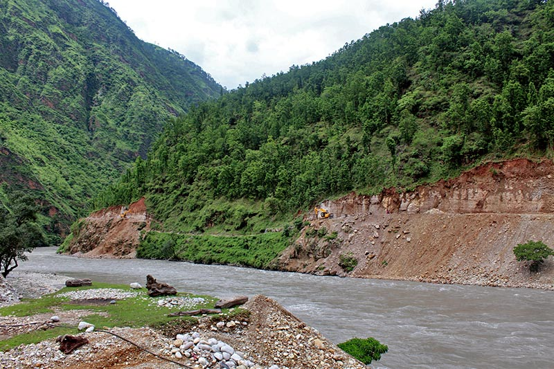 A view of river beside the Under-construction stretch of road connecting Rimna of Jajarkot district and Chhepare of Rukum district, in Jajarkot district, Tuesday, August 29, 2017. Photo RSS