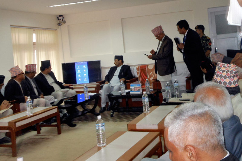 Chief Justice Gopal Parajuli attends the u0091Supreme Court Mobile Appu0092 launching ceremony, in the Supreme Court, Kathmandu, on Thursday, August 10, 2017. Photo: RSS