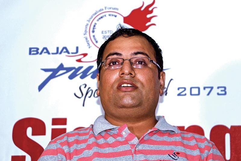 Managing Director of Sahas Sports Janak Neupane speaks during a signing ceremony in Kathmandu, on Monday. Photo: THT