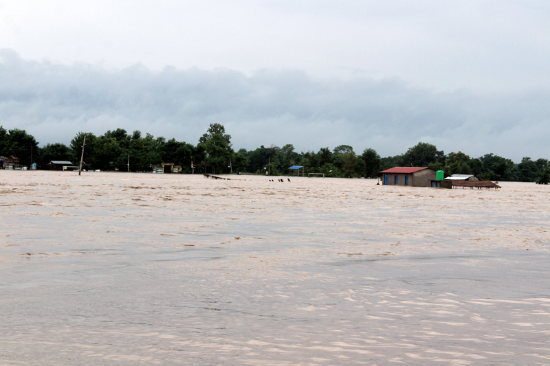 A view of the Flood triggered by torrential rainfall, in Sauraha, Chitwan, on Sunday, August 13, 2017. Photo: Tilak Rimal