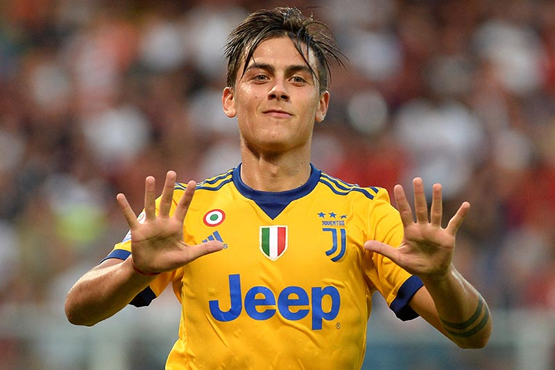 Juventus' Paulo Dybala celebrates after scoring fourth goal, in the Serie A match between Genoa and Juventus, in Genoa, Italy, on August 26, 2017. Photo: Reuters