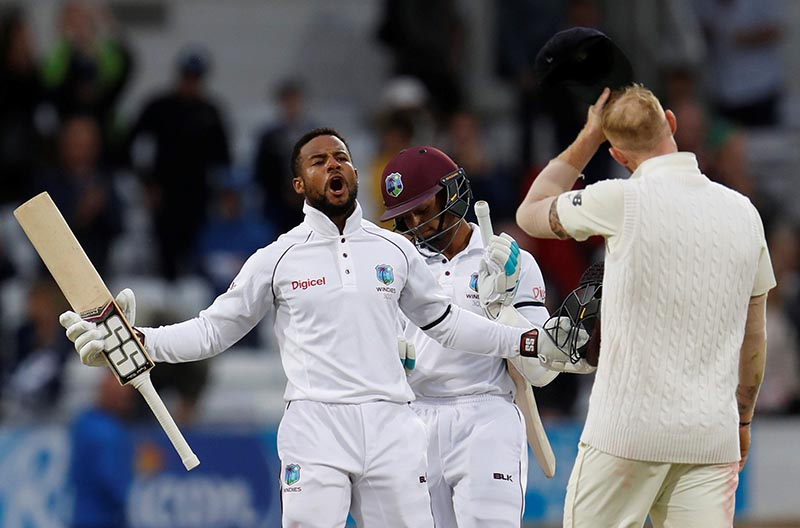 West Indies' Shai Hope celebrates their win. Photo: Reuters