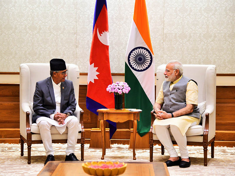 Indian Prime Minister Narendra Modi makes a surprise visit to his Nepai counterpart in New Delhi, on Wednesday, August 23, 2017. Courtesy: Narendra Modi's twitter