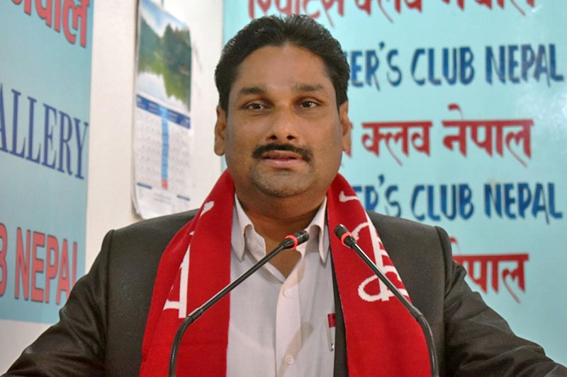 Minister for Supplies Shiva Kumar Mandal speaks at an interaction programme in Kathmandu, on Friday, August 4, 2017. Courtesy: Reporters Club