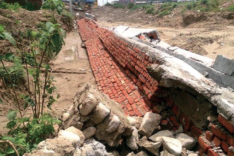 A damaged section of a drain in Mirchaiya Municipality, Siraha, on Saturday. Photo: THT