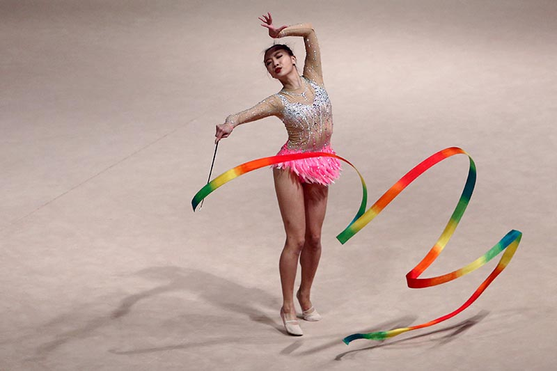 Tong Kah Mun of Singapore competes in Individual All-Around Final of Rhythmic Gymnastics at Southeast Asian (SEA) Games, in MITEC, Kuala Lumpur, Malaysia, on August 27, 2017. Photo: Reuters